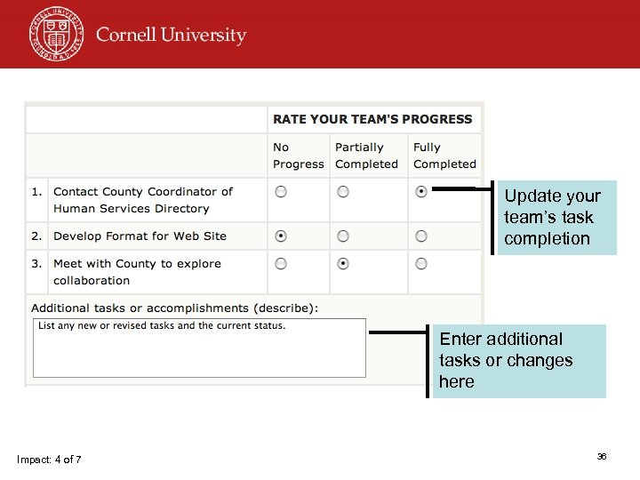 Update your team's task completion Enter additional tasks or changes here Impact: 4 of