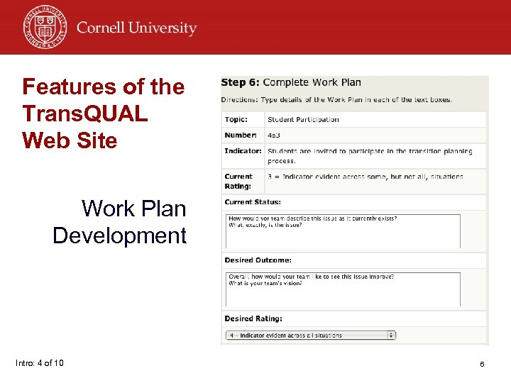 Features of the Trans. QUAL Web Site Work Plan Development Intro: 4 of 10