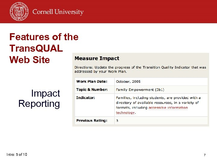 Features of the Trans. QUAL Web Site Impact Reporting Intro: 5 of 10 7