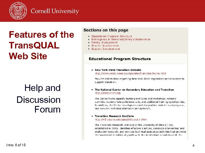 Features of the Trans. QUAL Web Site Help and Discussion Forum Intro: 6 of