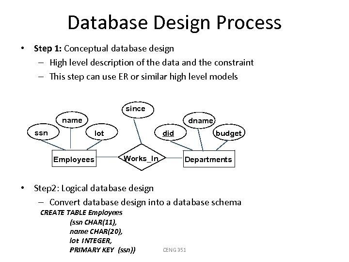 Database Design Process • Step 1: Conceptual database design – High level description of