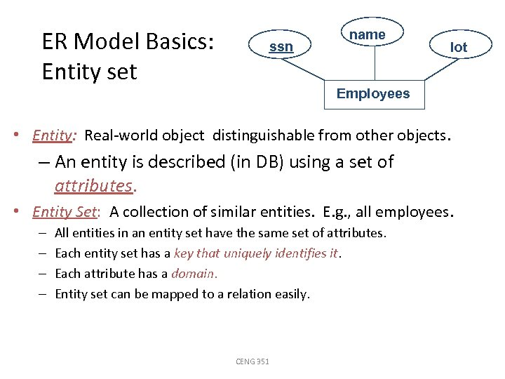 ER Model Basics: Entity set ssn name lot Employees • Entity: Real-world object distinguishable