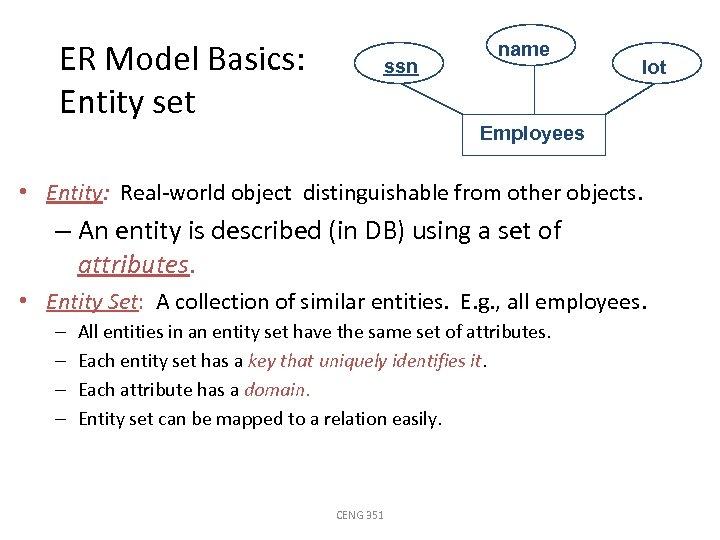 ER Model Basics: Entity set ssn name lot Employees • Entity: Real-world object distinguishable