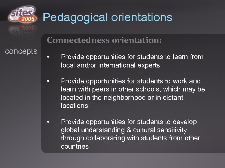Pedagogical orientations Connectedness orientation: concepts • Provide opportunities for students to learn from local