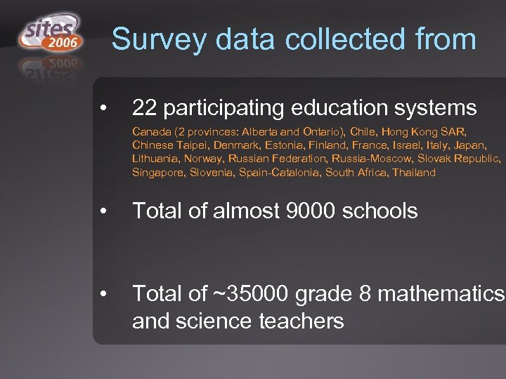 Survey data collected from • 22 participating education systems Canada (2 provinces: Alberta and