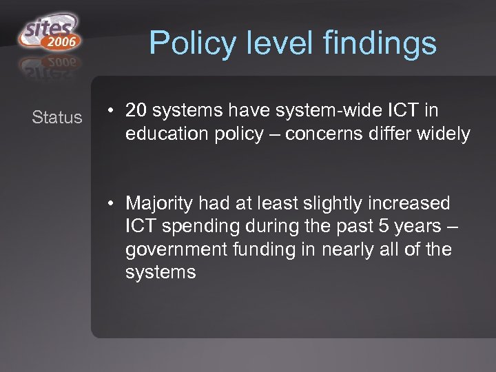 Policy level findings Status • 20 systems have system-wide ICT in education policy –