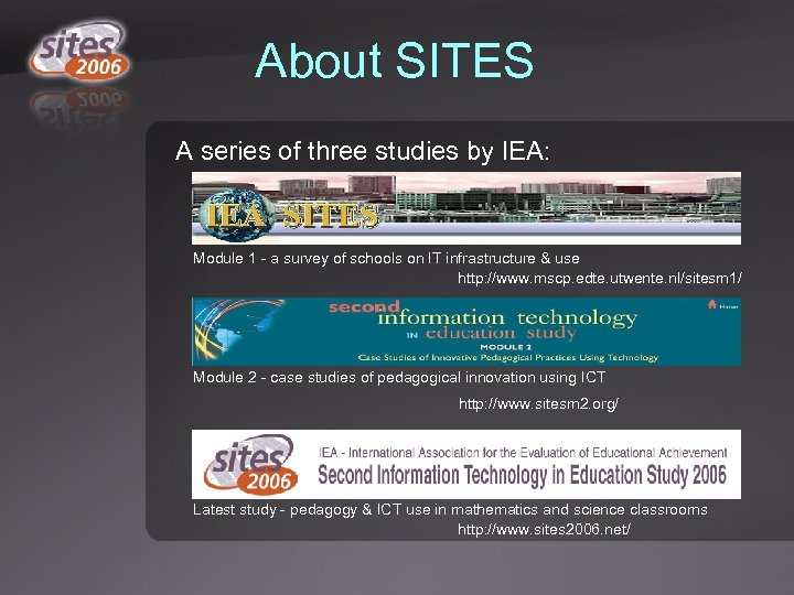 About SITES A series of three studies by IEA: Module 1 - a survey