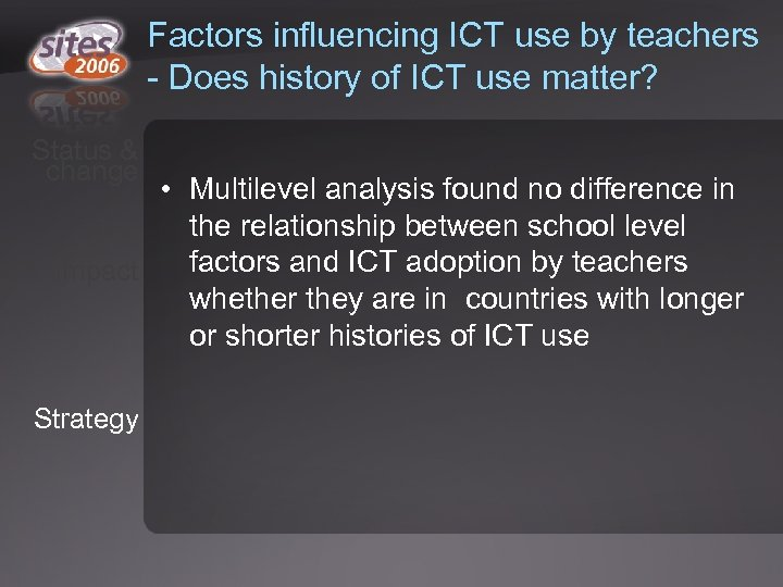 Factors influencing ICT use by teachers - Does history of ICT use matter? Status