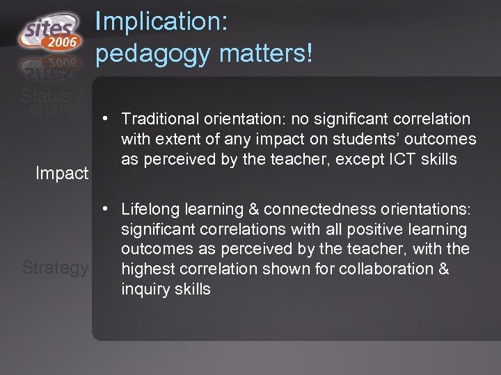 Implication: pedagogy matters! Status & change Impact • Traditional orientation: no significant correlation with