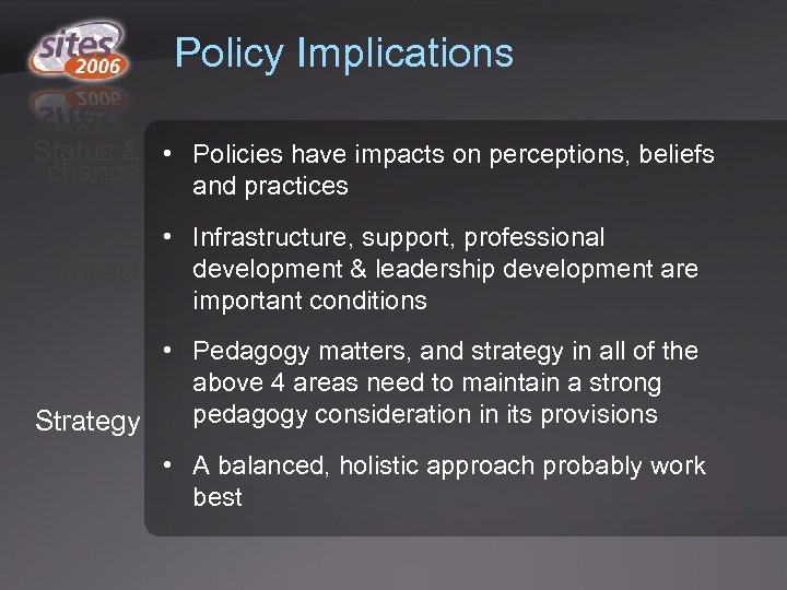 Policy Implications Status & • Policies have impacts on perceptions, beliefs change and practices