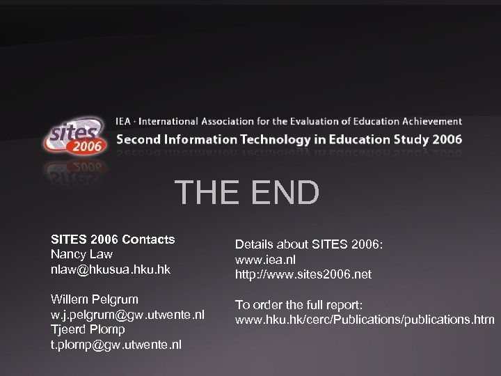 THE END SITES 2006 Contacts Nancy Law nlaw@hkusua. hku. hk Details about SITES 2006:
