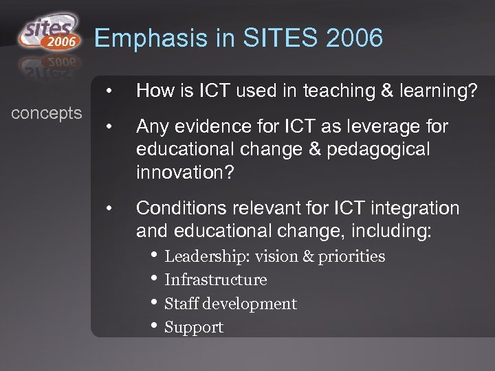 Emphasis in SITES 2006 • concepts How is ICT used in teaching & learning?