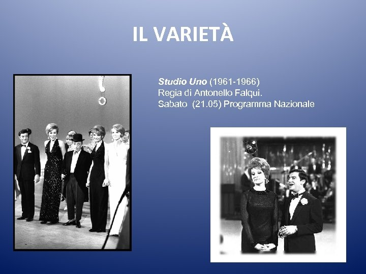 IL VARIETÀ Studio Uno (1961 -1966) Regia di Antonello Falqui. Sabato (21. 05) Programma