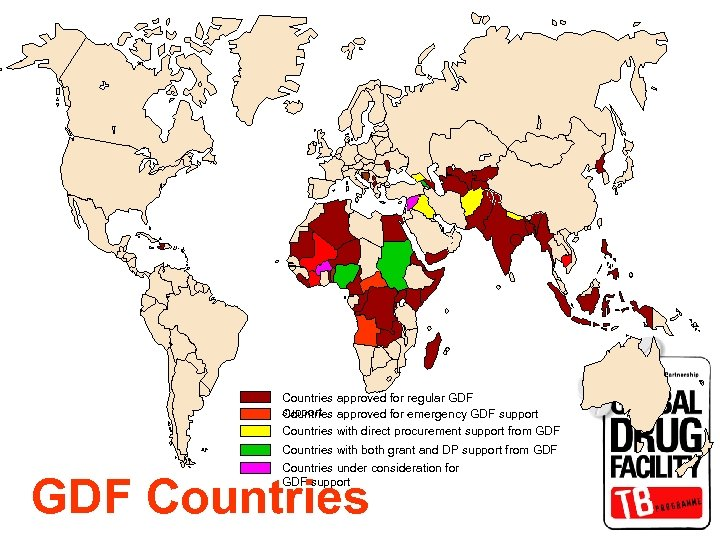 Countries approved for regular GDF support Countries approved for emergency GDF support Countries with
