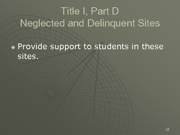 Title I, Part D Neglected and Delinquent Sites u Provide support to students in