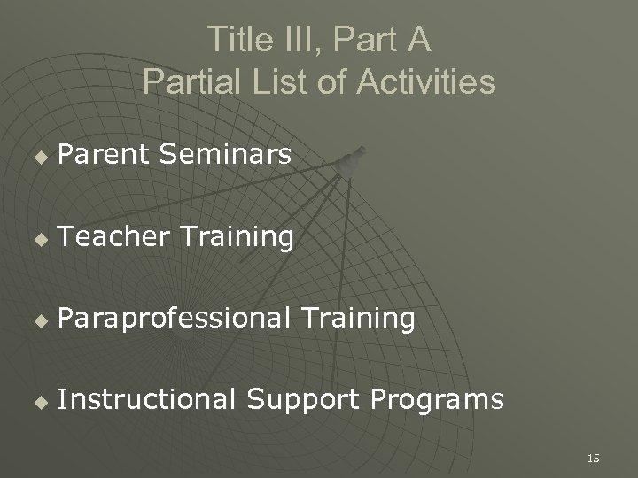 Title III, Part A Partial List of Activities u Parent Seminars u Teacher Training