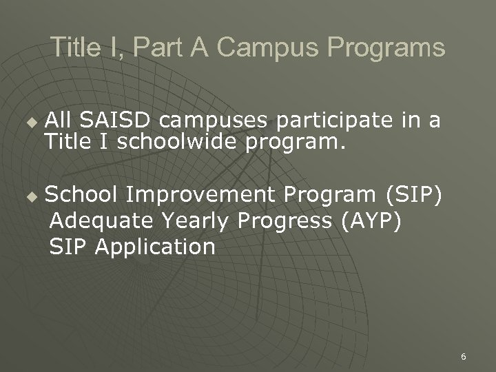 Title I, Part A Campus Programs u u All SAISD campuses participate in a