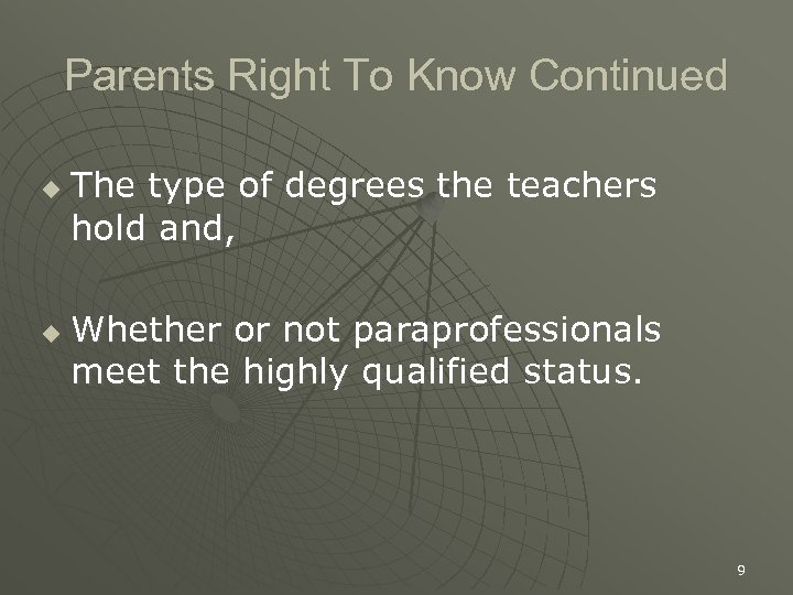 Parents Right To Know Continued u u The type of degrees the teachers hold