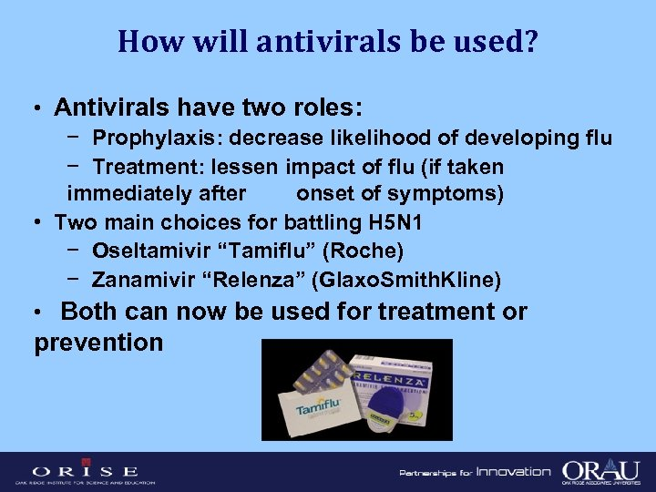 How will antivirals be used? • Antivirals have two roles: − Prophylaxis: decrease likelihood