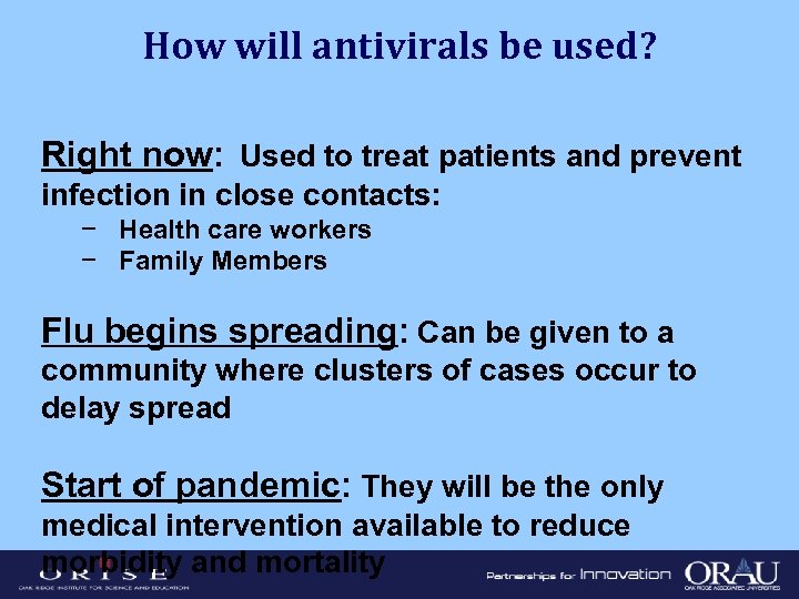 How will antivirals be used? Right now: Used to treat patients and prevent infection