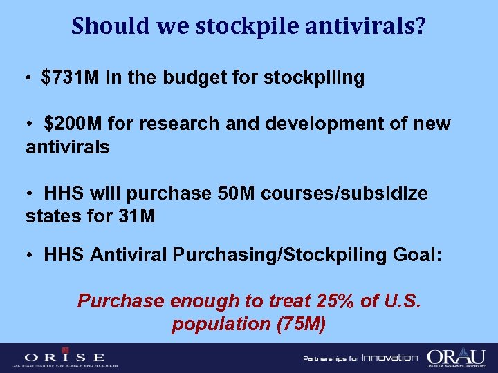 Should we stockpile antivirals? • $731 M in the budget for stockpiling • $200