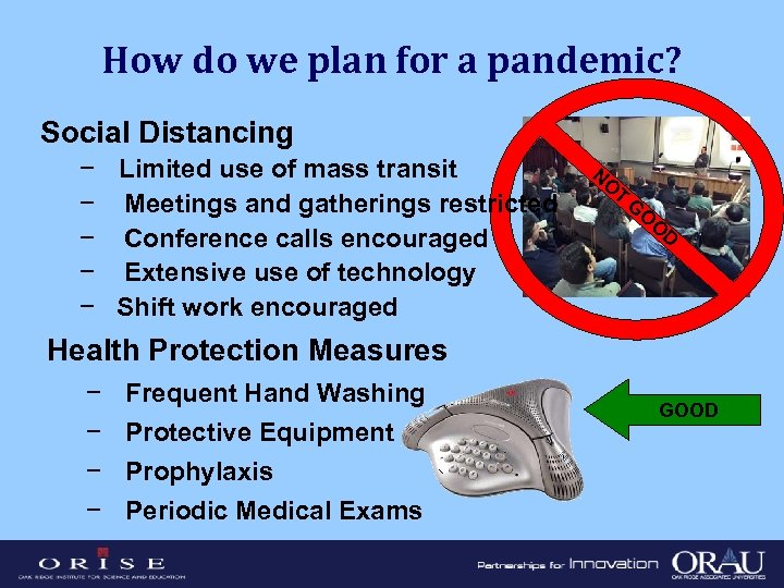 How do we plan for a pandemic? Social Distancing − Limited use of mass