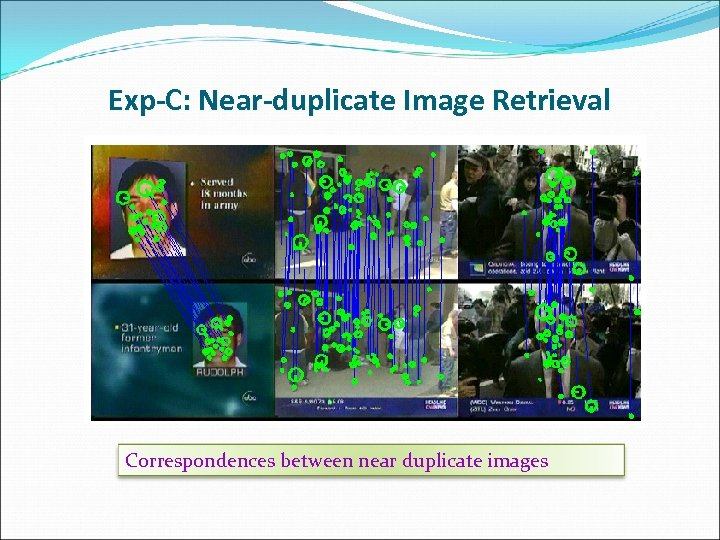 Exp-C: Near-duplicate Image Retrieval Correspondences between near duplicate images