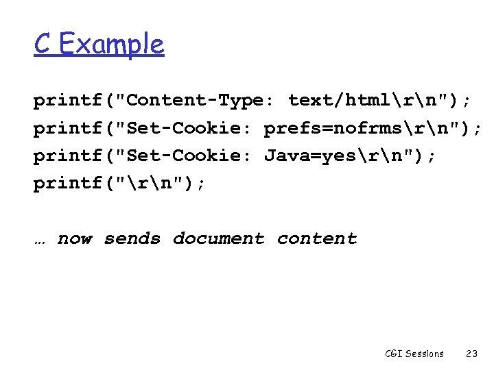 C Example printf(