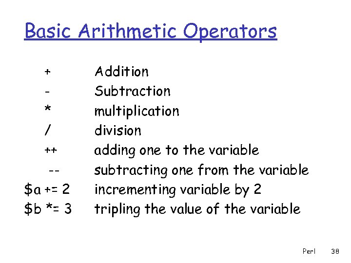 Basic Arithmetic Operators + * / ++ -$a += 2 $b *= 3 Addition