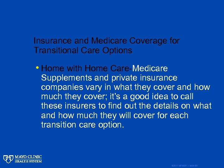 Insurance and Medicare Coverage for Transitional Care Options • Home with Home Care-Medicare Supplements