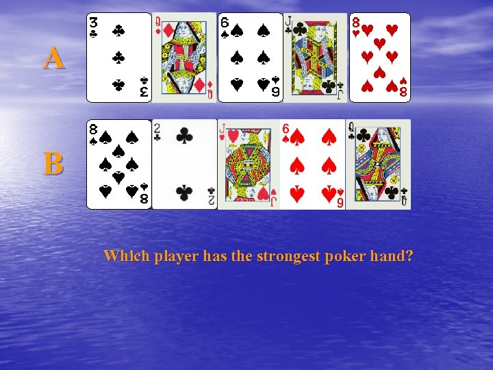 A B Which player has the strongest poker hand?