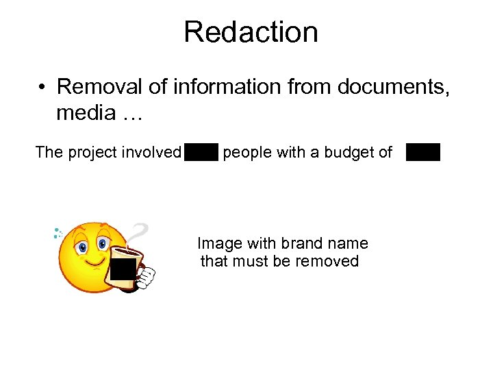 Redaction • Removal of information from documents, media … The project involved people with