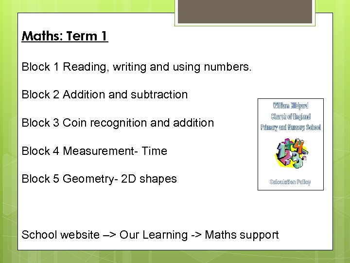 Maths: Term 1 Block 1 Reading, writing and using numbers. Block 2 Addition and