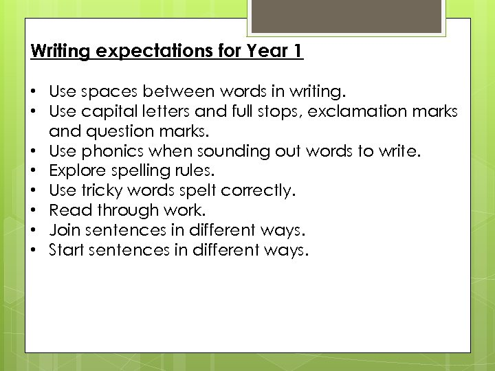 Writing expectations for Year 1 • Use spaces between words in writing. • Use