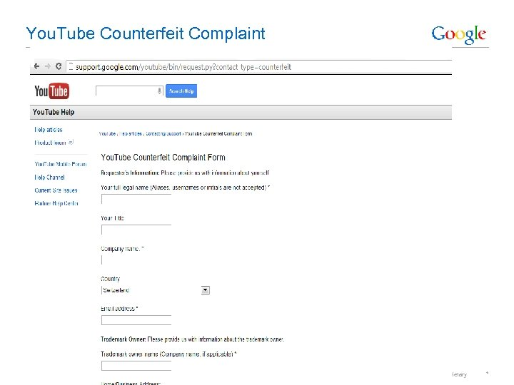 You. Tube Counterfeit Complaint Google Confidential and Proprietary *