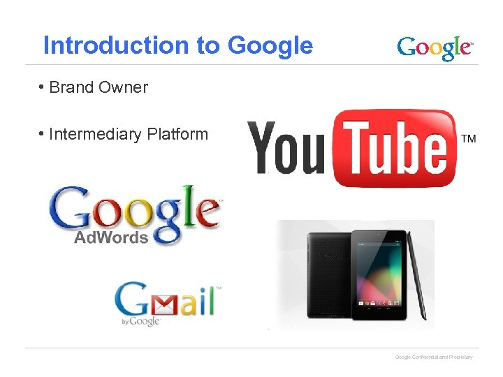 Introduction to Google • Brand Owner • Intermediary Platform Google Confidential and Proprietary