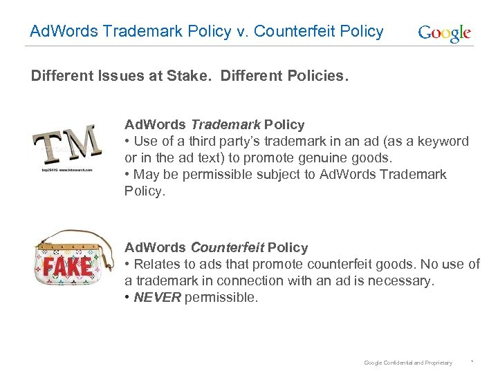 Ad. Words Trademark Policy v. Counterfeit Policy Different Issues at Stake. Different Policies. Ad.