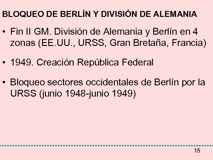 BLOQUEO DE BERLÍN Y DIVISIÓN DE ALEMANIA • Fin II GM. División de Alemania