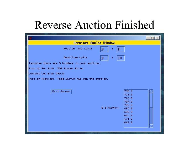 Reverse Auction Finished