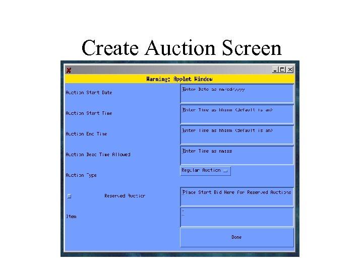 Create Auction Screen