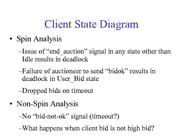 """Client State Diagram • Spin Analysis –Issue of """"end_auction"""" signal in any state other"""