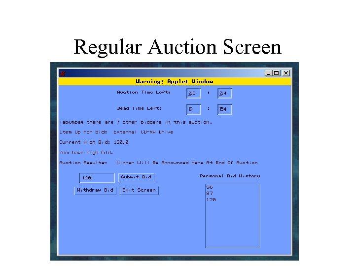 Regular Auction Screen