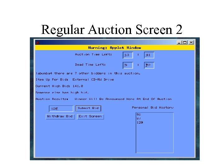 Regular Auction Screen 2