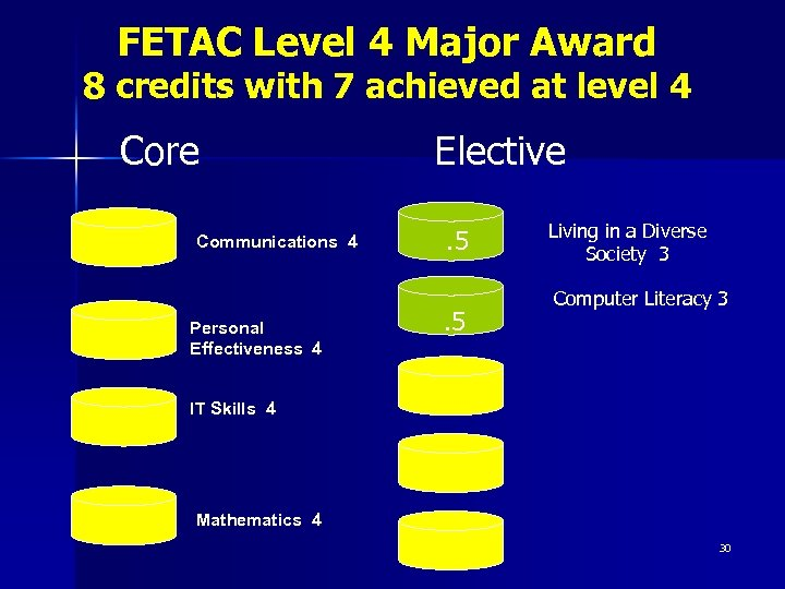 FETAC Level 4 Major Award 8 credits with 7 achieved at level 4 Core