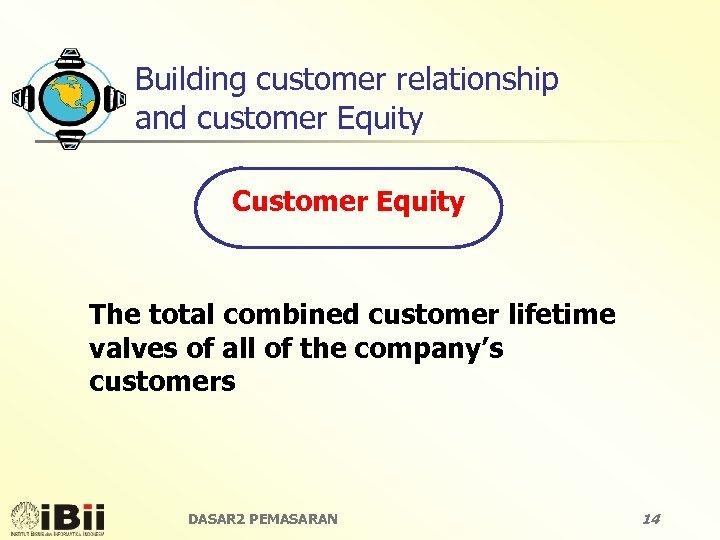 Building customer relationship and customer Equity Customer Equity The total combined customer lifetime valves