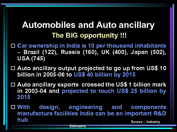 Automobiles and Auto ancillary The BIG opportunity !!! o Car ownership in India is