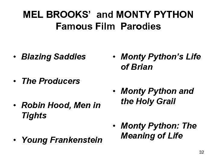 MEL BROOKS' and MONTY PYTHON Famous Film Parodies • Blazing Saddles • Monty Python's