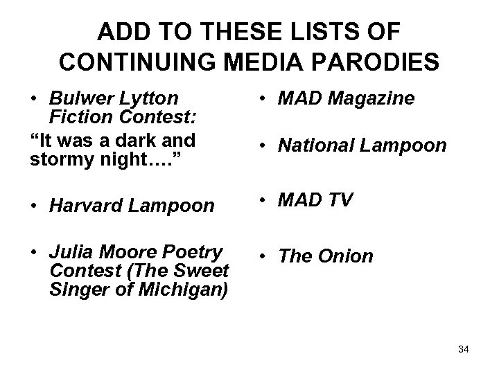 """ADD TO THESE LISTS OF CONTINUING MEDIA PARODIES • Bulwer Lytton Fiction Contest: """"It"""