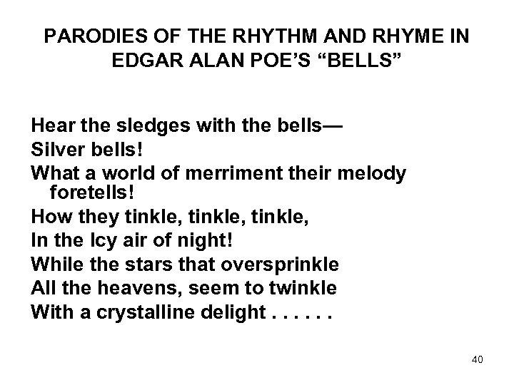 "PARODIES OF THE RHYTHM AND RHYME IN EDGAR ALAN POE'S ""BELLS"" Hear the sledges"