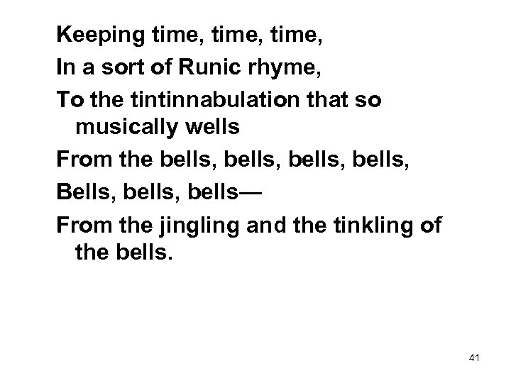 Keeping time, In a sort of Runic rhyme, To the tintinnabulation that so musically